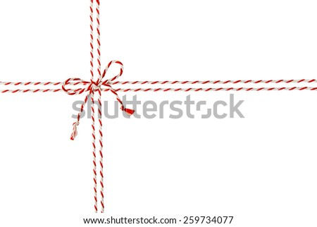 Rope Tied Bow Knot for White Envelope Package, Red Ribbon Cord of Postal Mail Pack, Seamless - stock photo