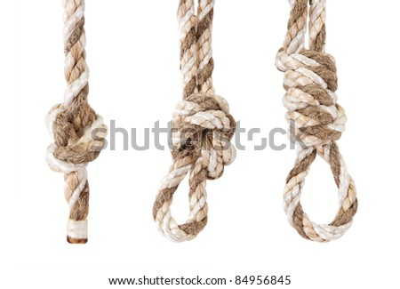 rope twisted in a knot is isolated on a white background - stock photo