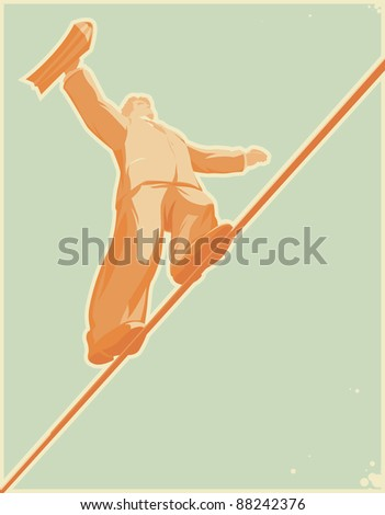 Rope-walker: risky business. Raster version. Vector version is also available. - stock photo