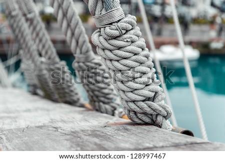 Ropes on a sailing ship - stock photo