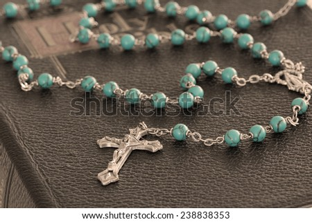 Rosary and Bible - stock photo