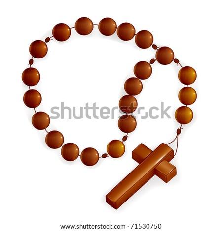 Rosary and Cross, bitmap copy - stock photo