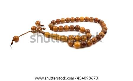 rosary beads isolated - stock photo