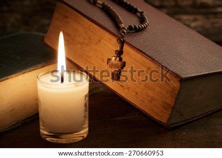 Rosary crucifix - stock photo