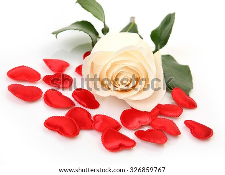 rose and Scarlet heart - stock photo