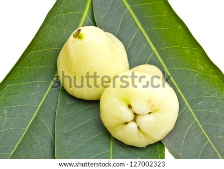 Rose apples or green chomphu on white background - stock photo