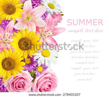 Rose, aster and lily background isolated on white with sample text - stock photo