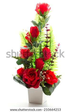 Rose bouquet isolated on white - stock photo