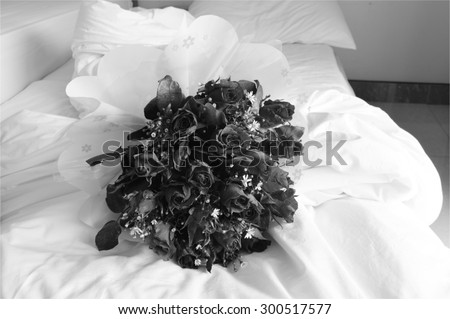 rose bouquet on black and white tone - stock photo