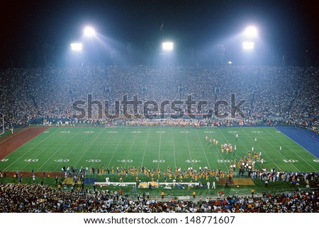 ROSE BOWL STADIUM, PASADENA, CA - CIRCA 1990's: Interior of football stadium in Pasadena, CA - stock photo