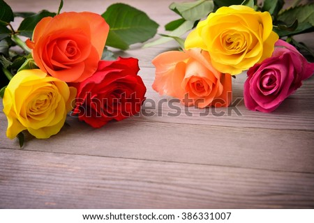 Rose, Bunch of roses. Bouquet of roses. Rose flower. Roses on wood background.  Beautiful roses, roses represent for love.  - stock photo