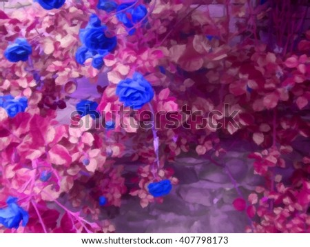 Rose bush on stonewall digital drawing. Invert colors - stock photo
