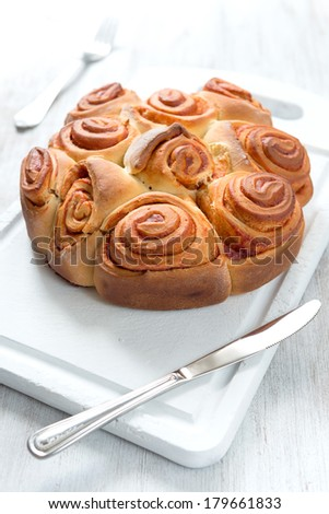 Rose cake traditional italian pastry with dog hip jam - stock photo