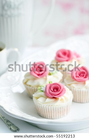 Rose cupcakes - stock photo