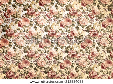 Rose design pattern on fabric as background - stock photo