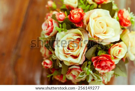 rose flower decoration, vintage color tone - stock photo