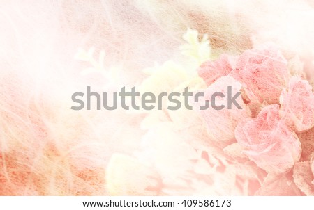 Rose flowers in mulberry paper texture pastel color style for background soft focus. - stock photo
