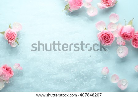 Rose in water,spa background. - stock photo