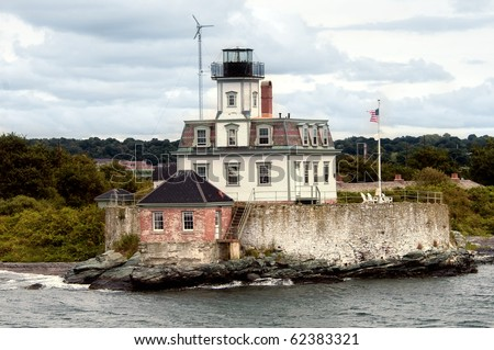 Rose Island Lighthouse in Newport, Rhode Island - stock photo