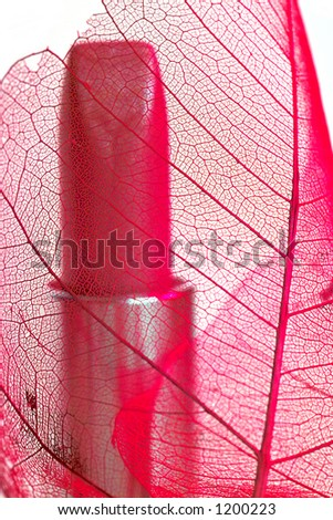 rose lipstick over leaf with shallow DOF - stock photo