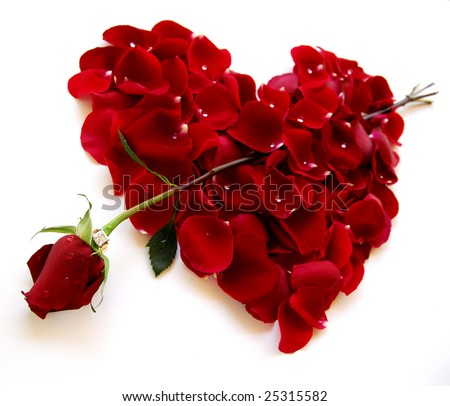 Rose petal red heart on an angle with rose arrow and diamond ring - stock photo