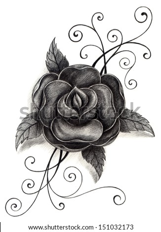 Bud rose tattoo stock photos images pictures for Drawing tattoos on paper