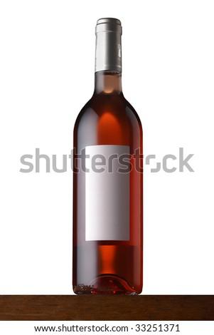 rose wine bottle on wood - stock photo