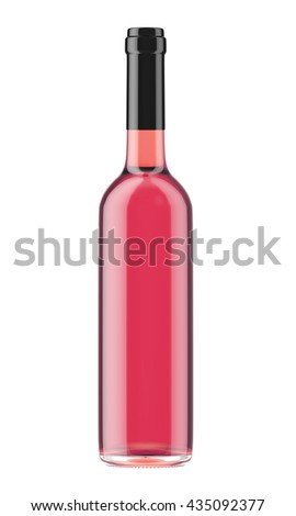 Rose wine bottle with black plug isolated on white background. 3D Mock up for your design. - stock photo