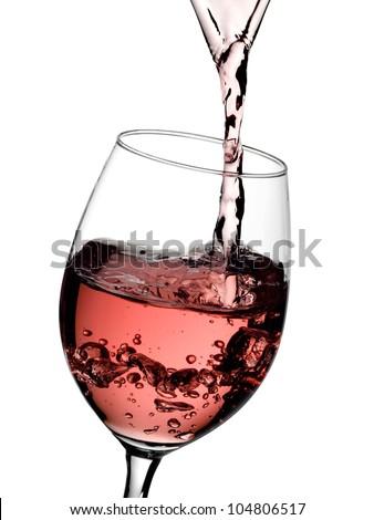 Rose wine flow - stock photo