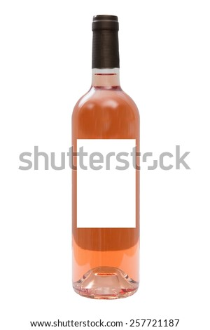 Rose wine with blank labels. Isolated on white - stock photo