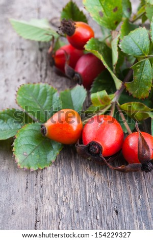Rosehip berries on a old textured wooden background - stock photo