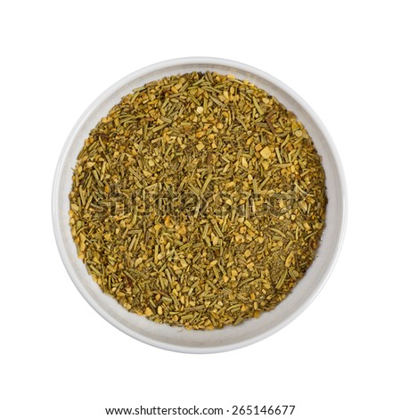 Rosemary and Garlic Blend Bread Dipping Seasoning isolated on white background. Selective focus. - stock photo