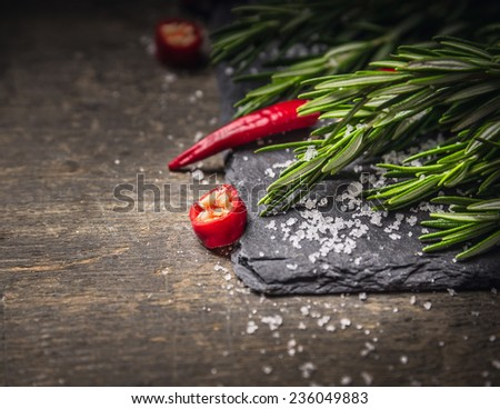 rosemary branch and red chili with salt on dark slate and wooden  background - stock photo