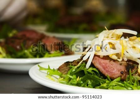 Rosemary Lamb Prepared For Catering Dinner - stock photo