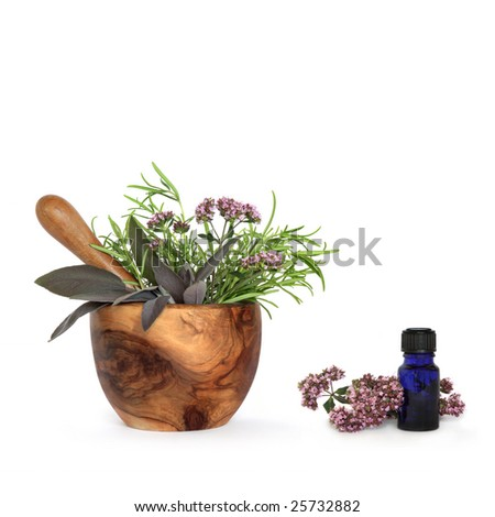 Rosemary, sage and marjoram herb leaf sprigs and flowers with an olive wood mortar with pestle and aromatherapy blue glass essential oil bottle, over white background. - stock photo