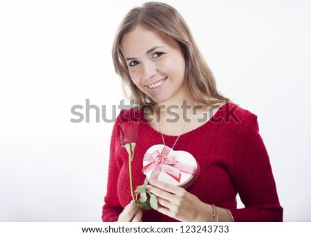 Roses and chocolates for valentine's day - stock photo
