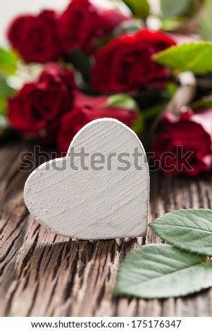 roses and heart shape with copy space  - stock photo