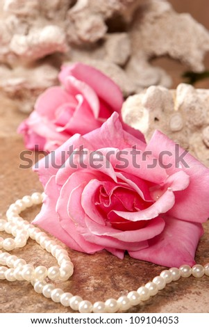 Roses and Pearls - stock photo