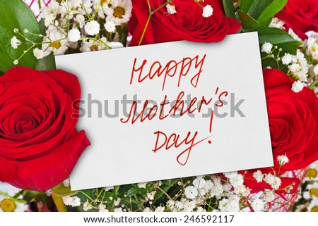 Roses bouquet and card for Mother - celebration background - stock photo