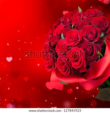 Roses Bouquet and Hearts background. Valentine or Wedding Card. Red Valentines Day Design. Bunch of Roses - stock photo