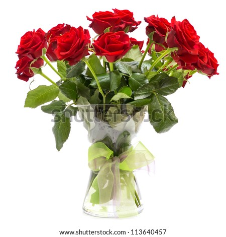 Roses bouquet in glass vase with ribbon isolated on white background - stock photo