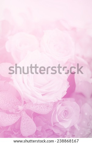 roses bouquet in  soft pink color , for  background - stock photo