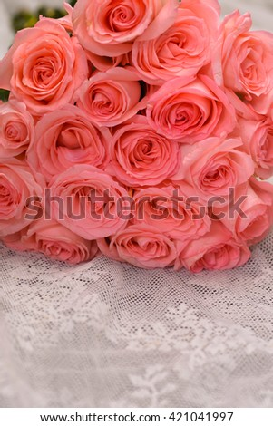 Roses Bunch and Silk - stock photo