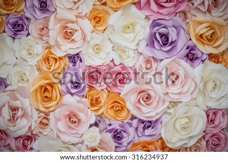 Roses from paper, Colorful flowers paper for wedding background pattern lovely style. - stock photo