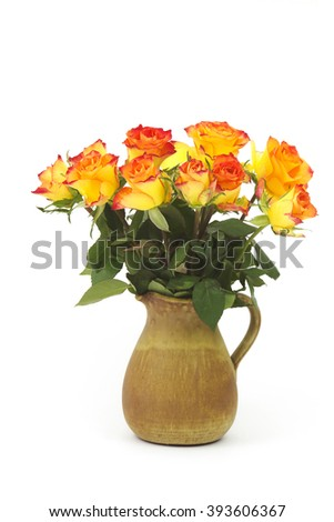 roses in a vase on white background - stock photo