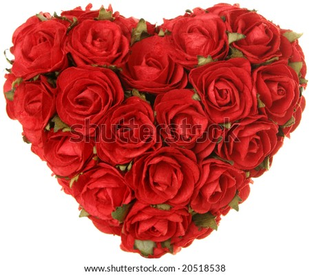 Roses in the shape of a heart. Love, romance, Valentine's day concept. - stock photo