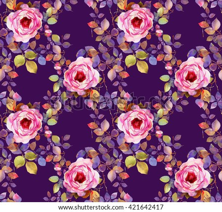 Roses watercolor seamless pattern - stock photo