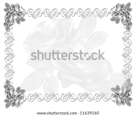 ROSES WEDDING INVITATION -  black-and-white - stock photo