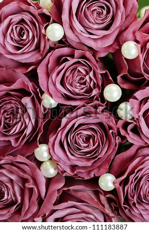 Roses with pearls - background - stock photo
