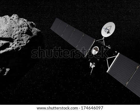Rosetta probe in the universe next to an asteroid - Elements of this image furnished by NASA - stock photo